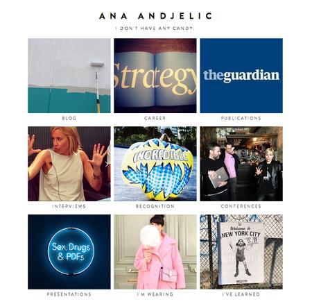 Ana Andjelic portfolio on Squarespace